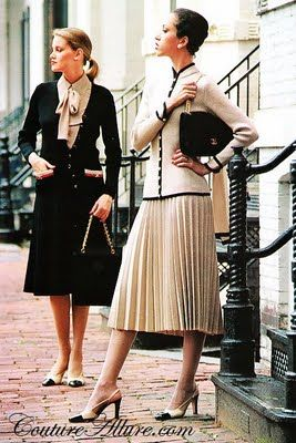 Fall 1978 - St. John knit suits offer slim jackets over skirts with movement.