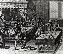 L'agonie d'Henri II.-Blessé au cours d'une joute se déroulant devant l'hôtel de Sully (n°62), Henri fut transporté à l'hötel des Tournelles, résidence toute proche située à l'emplacement de l'actuelle place des Vosges. Malgré les soins des médecins et chirurgiens dont Amboise Paré, autorisé à reproduire la blessure sur des condamnés à mort pour mieux la soigner, et André Vésale, chirurgien particulier de Philippe II d'Espagne appelé d'urgence de Bruxelles au chevet du blessé, le roi mourut.