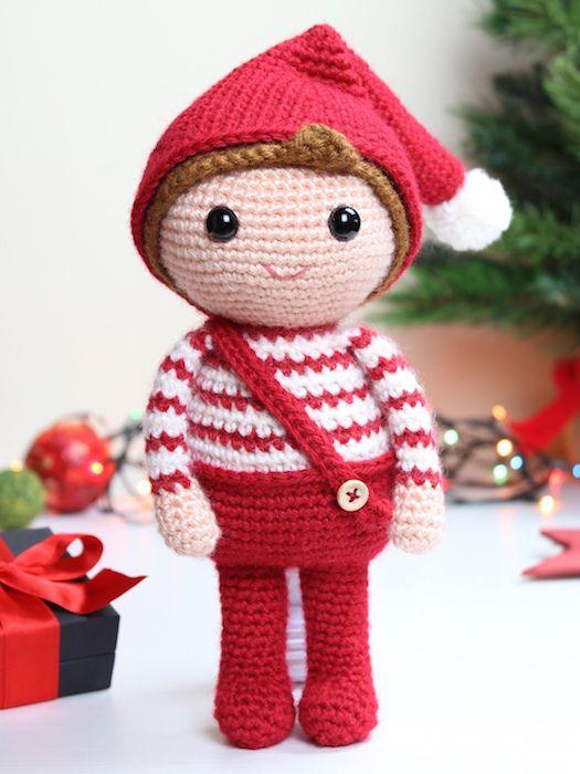 navidad amigurumi elfo patrón de ganchillo 1