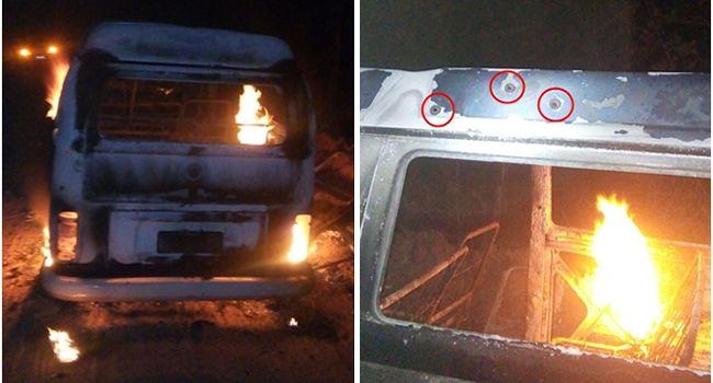 Kombi escolar da Aldeia Cahy é incendiada por atiradores em Cumuruxatiba