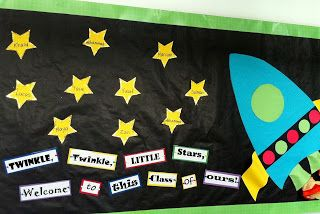Beginning of the bulletin board with space theme. It says: Twinkle, twinkle little stars welcome to this class of ours