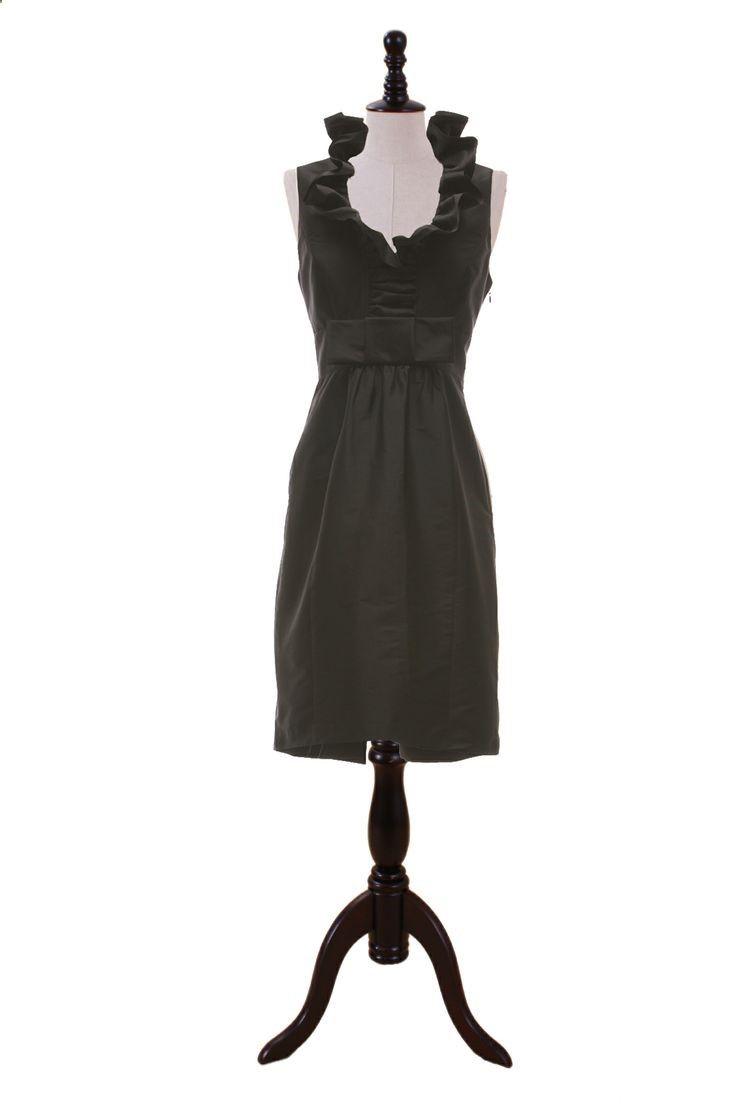 Ruffle Neckline Taffeta Dress