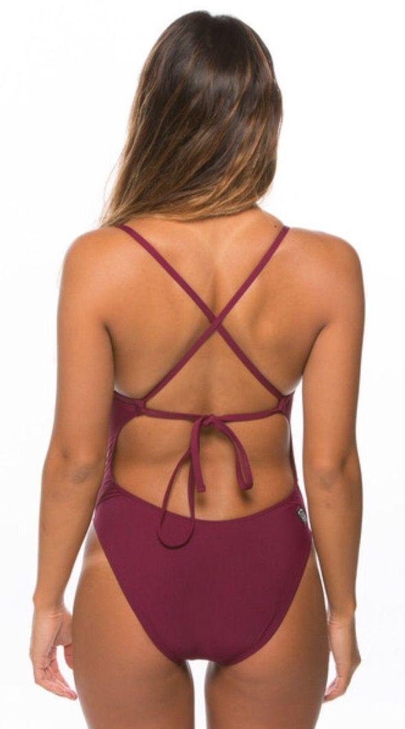 Jolyn Swimsuit- Jackson 2 Tie-back Onesie- Cabernet