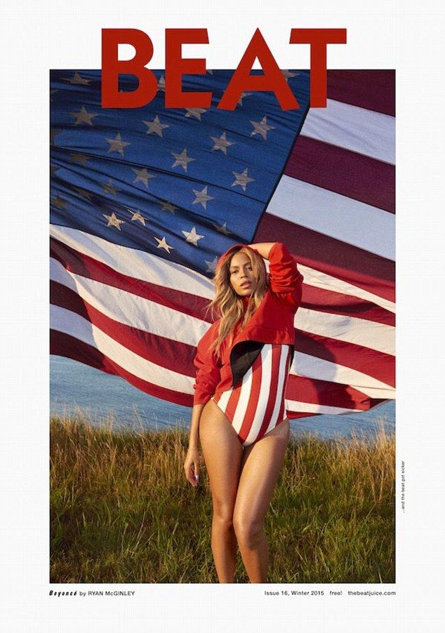 American idol! Seen here on the cover of the publication clad in a swimsuit in front of the Stars and Stripes