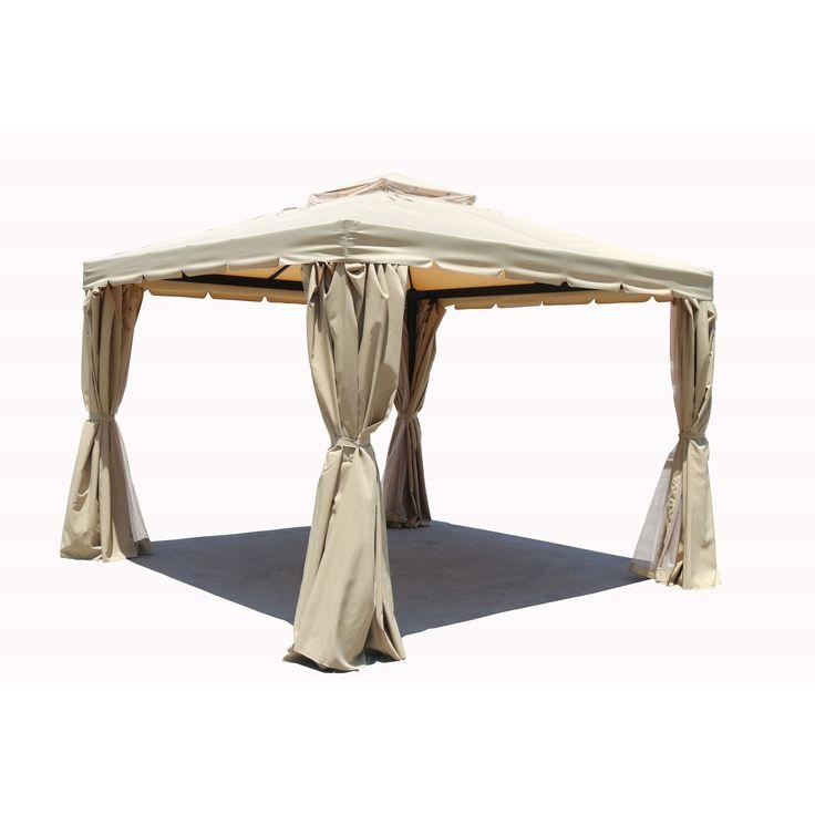 Moda Ellington 10 Ft W X 13 D Aluminum Garden Party Canopy Permanent Gazebo By Direct Wicker Khaki Beige Size