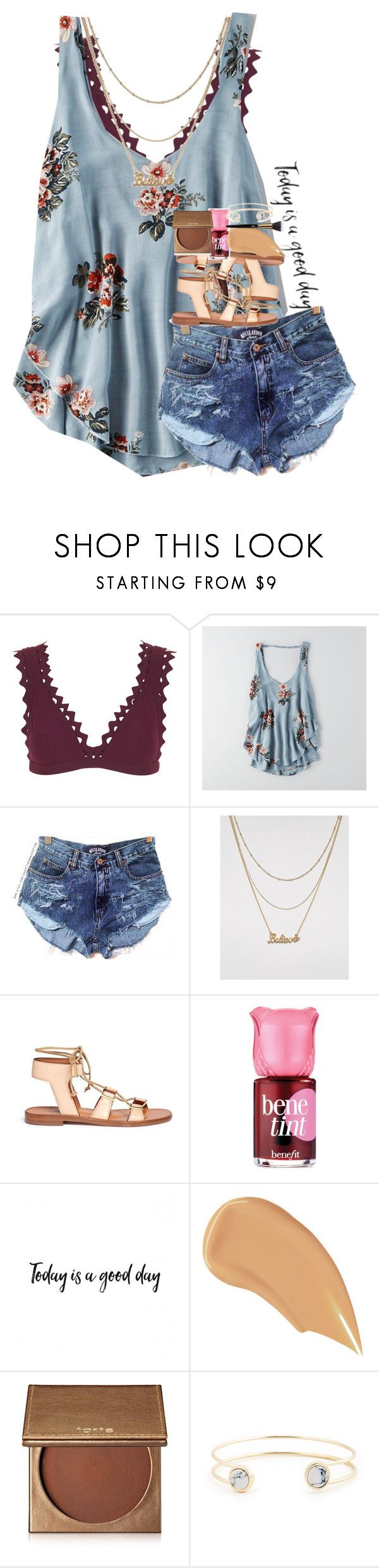 """""""you're loved, even when you feel alone. hang on. it gets easier, then it gets okay, then it feels like freedom."""" by ellaswiftie13 ❤ liked on Polyvore featuring Karla Colletto, American Eagle Outfitters, Monki, Rosetta Getty, Benefit, NARS Cosmetics, tarte, Sole Society and Yves Saint Laurent"""