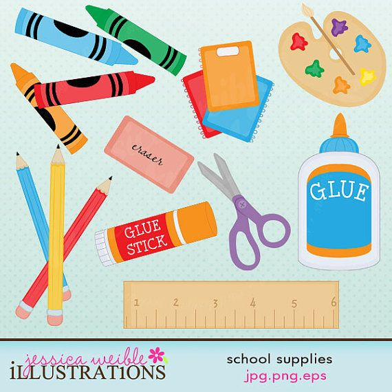 School Supplies Cute Digital Clipart for Card Design, Scrapbooking, and Web Design