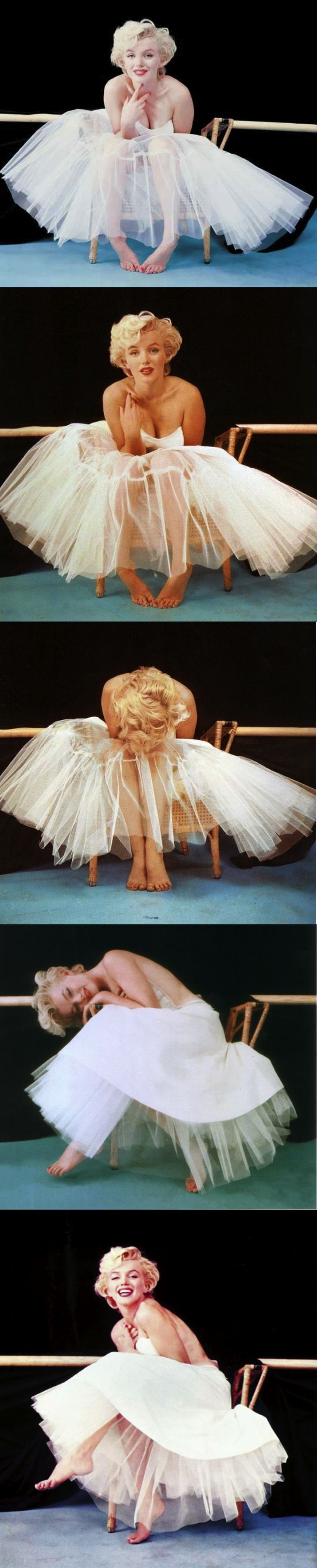Style and life icon. So brave. Marilyn Monroe, 1954, New York, Ballerina sitting by Milton H Greene.