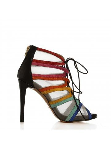 Renkli Süet & Siyah Deri Bantlı Fileli Ayakkabı - Fotoğraf 9