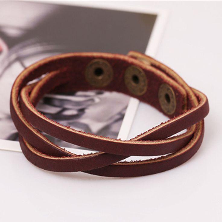 2017 New Vintage Snap Bracelet Men/Women Adjustable Leather Wrap Bracelets & Bangles Fashion Pulseira Masculina Jewelry NP1781