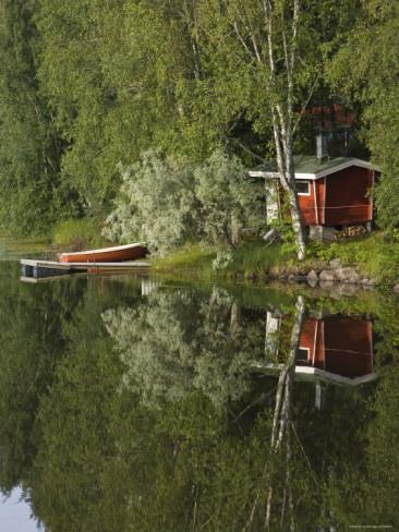 Sauna and Lake Reflection