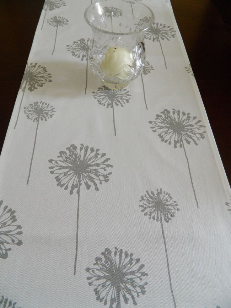 """Dandelion Table Runner. Grey and White Table Runner. Contemporary Table Runner. 72"""" Runner. Year 'Round Long Table Runner by BabyGigglesOnline on Etsy https://www.etsy.com/listing/467083439/dandelion-table-runner-grey-and-white"""