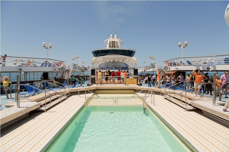 Our #pool on the upper deck! Enjoy #swimming in the middle of the Aegean sea! #cruising #travel #louiscruises #onboard