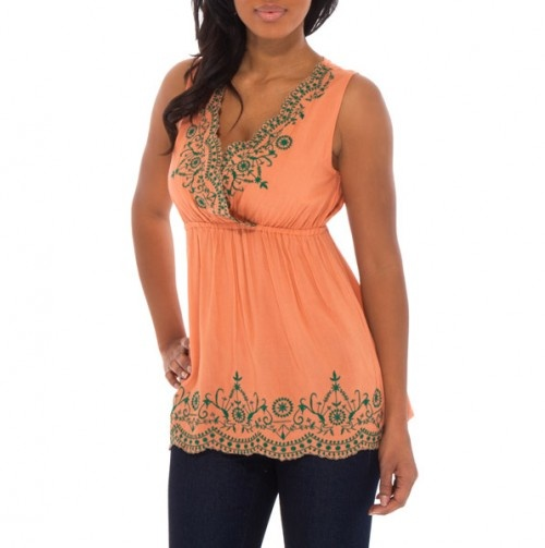 Embroidered Empire Waist Tank - Spring Tops