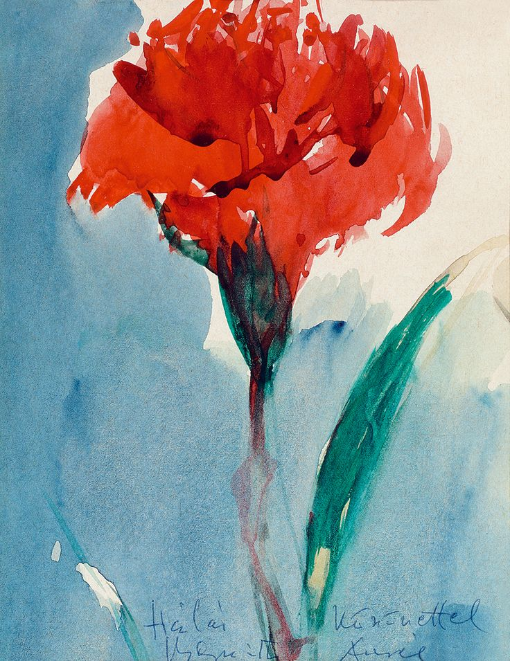 Single abstract flower painting by Bernáth Aurél