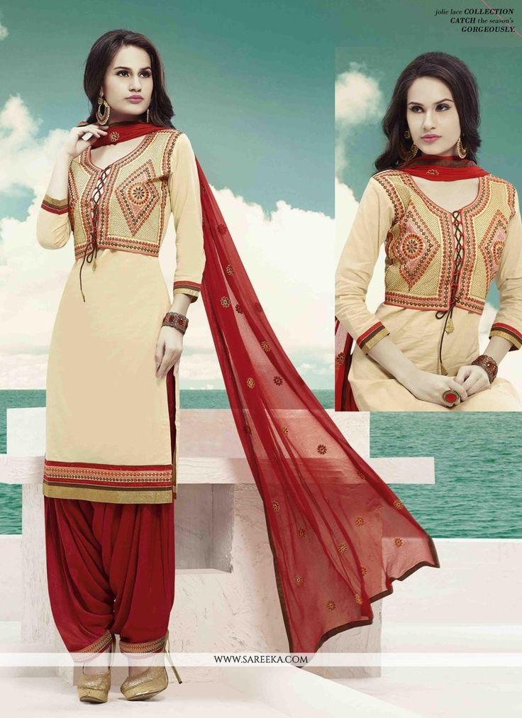cream cotton designer patiala suit