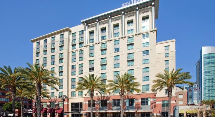 Hilton San Diego Gaslamp Quarter San Diego This hotel, 3 miles from San Diego International Airport, is within blocks of art galleries and shops. It features a restaurant, outdoor pool, and rooms with 42-inch flat-screen cable TVs.