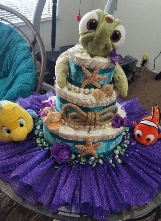 """Super cute """"Under the Sea"""" themed diaper cake!"""