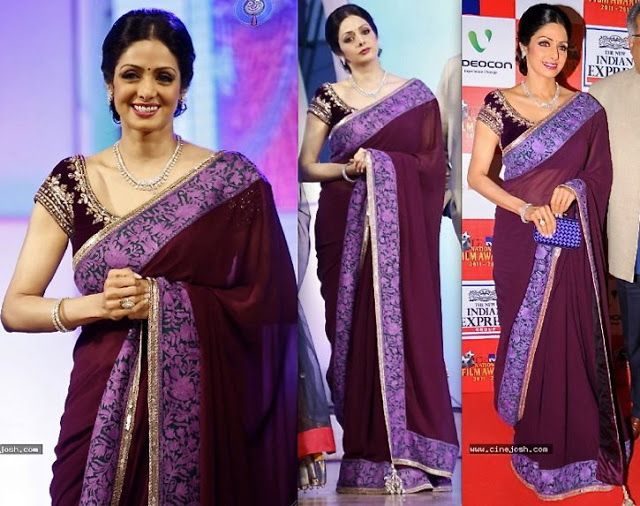 Ravishing Sridevi in Manish Malhotra saree ~ Celebrity Sarees, Designer Sarees, Bridal Sarees, Latest Blouse Designs 2014