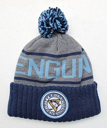 penguins dark blue on grey knit beanie cap hat baseball baby
