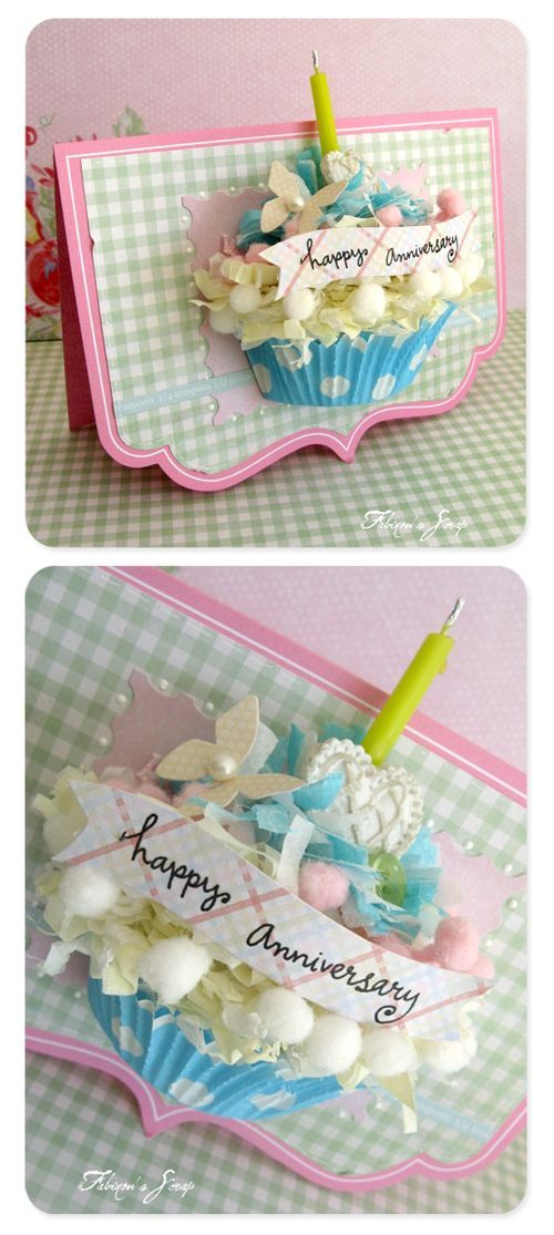 Fabienne---website is just as beautifulCupcakes Liner, Happy Birthday, Pop Up Cards, Birthday Cards, Cupcakes Cards, 3D Cards, 3D Cupcakes, Cards Crafts, Anniversaries Cards