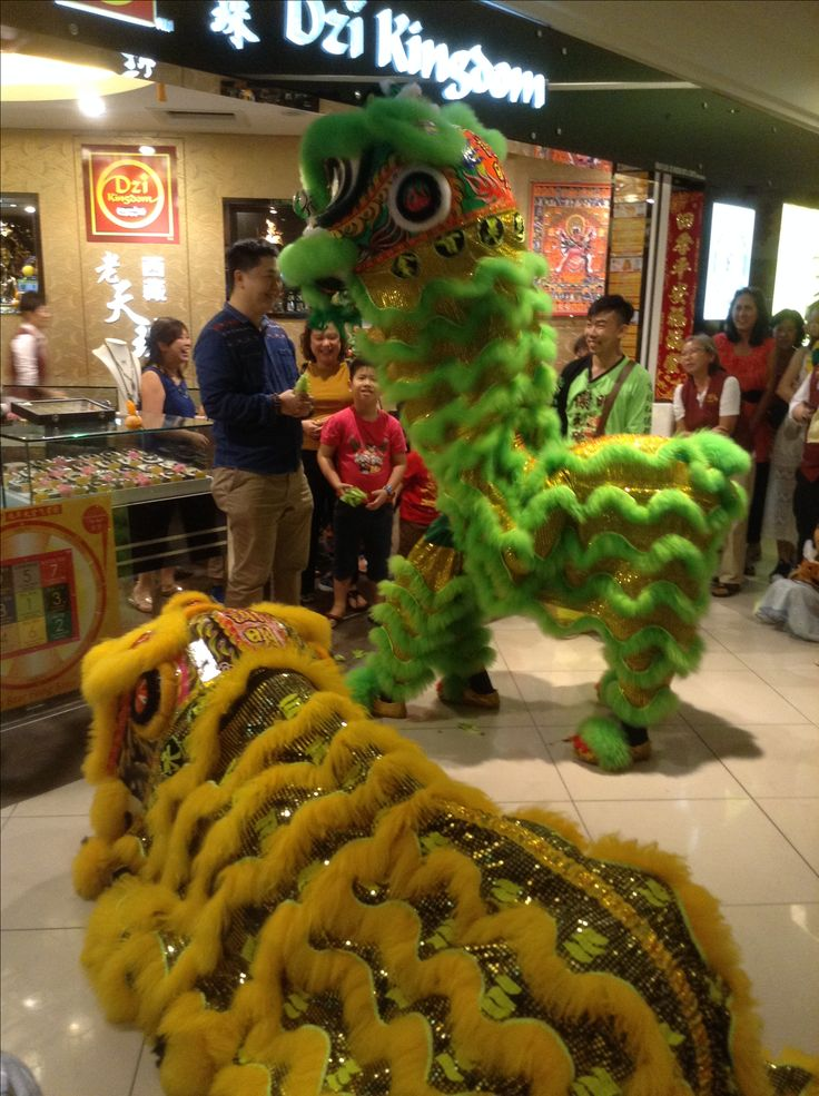 Lion dancing at the shopping mall for Chinese New Year