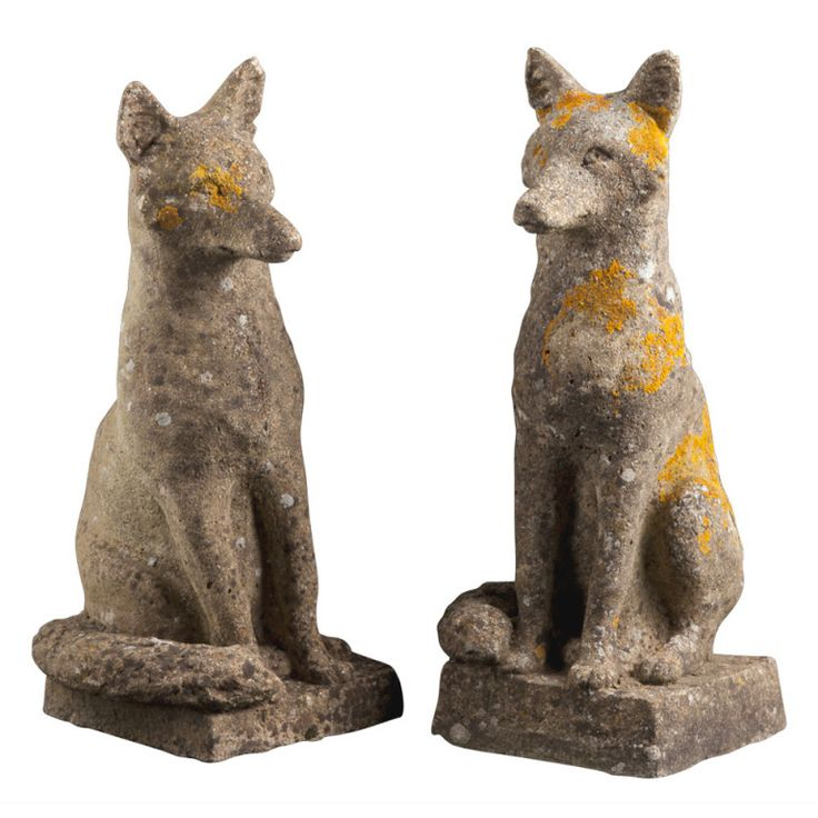 1stdibs   Pair of Stone Foxes - to greet visitors at my future English country house