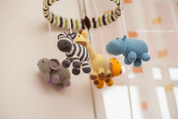 Jungle set (3 items):  jungle baby mobile + rattle giraffe + nursery ART by creationfaeries, $260.00