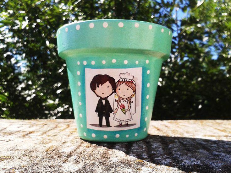 Souvenir Personalizado Maceta para Casamiento, $50 en https://ofeliafeliz.com.ar