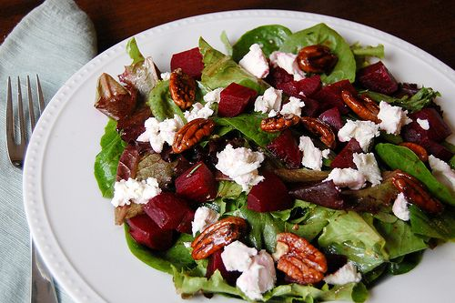 roasted beet salad with Balsamic Vinaigrette (Bobby Flay): 1/4 cup balsamic vinegar, 1 tablespoons Dijon mustard or honey, 1/2 cup olive oil, Salt and freshly ground pepper. Whisk together the vinegar and mustard in small bowl. Slowly drizzle in the olive oil and season with salt and pepper to taste.