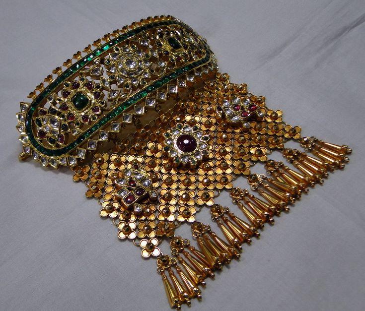 Gold Necklace 22 K Diamond polki kundan meena work choker necklace -11732 - www.tribalexport.com