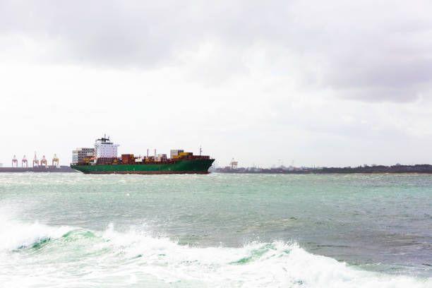 oil tanker leaving oil refinery port sydney australia copy space