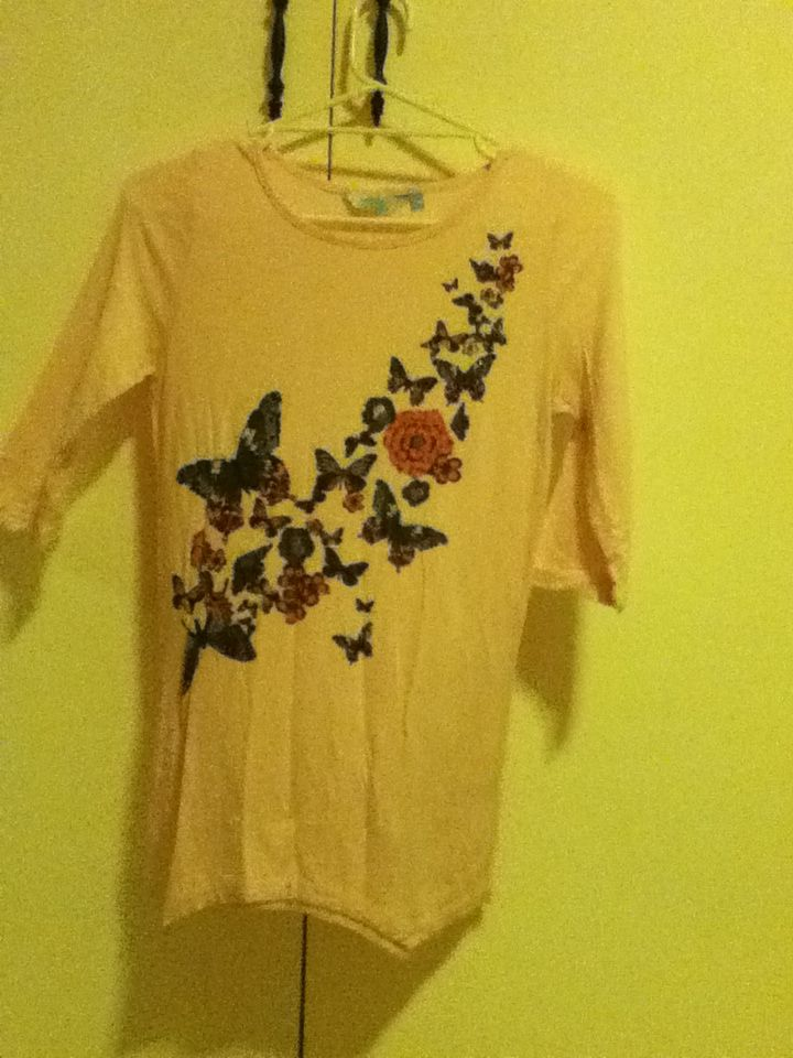 8 - mid-length sleeved shirt, pastel pink, size 14 in girls (fits ladies size 8, 10 and probably 12 but I'm not sure), 'tilii' - Myers.