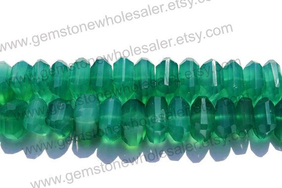 AAA Quality Green Onyx Faceted Nuggets / 9 by GemstoneWholesaler