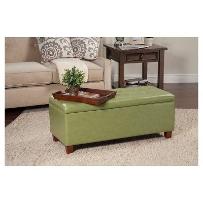 Homepop Large Faux Leather Storage Bench - Moss Green