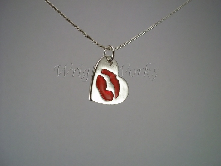 Medium Heart pendant with lip impression. A kiss immortalised forever. Silver personalised piece with resin