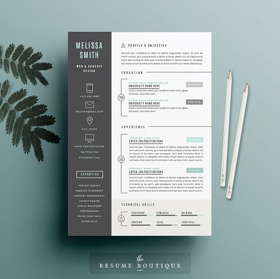 Resume Template 3pk CV Template Cover par TheResumeBoutique