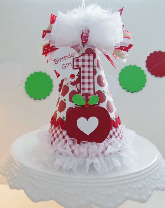 Lil' Apple Birthday Party Hat Apple of My by SandysSpecialtyShop