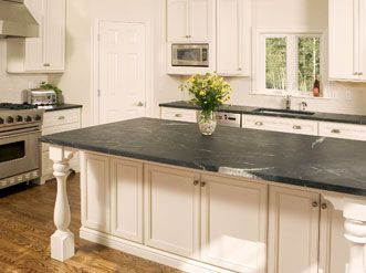 White Cabinets With Black Soapstone Counters Home Sweet