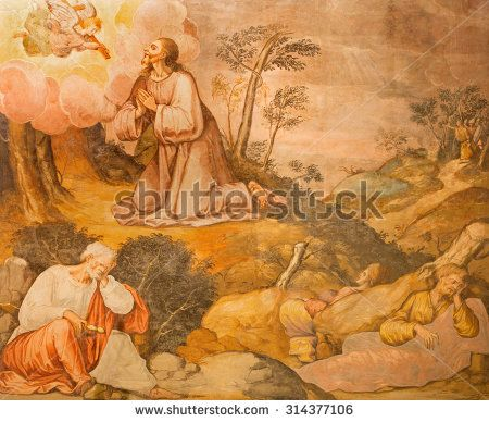 CORDOBA, SPAIN - MAY 27, 2015: Jesus prayer in Gethsemane grarden fresco from 17. cent. by unknown artist in church Iglesia San Nicolas de la Villa.