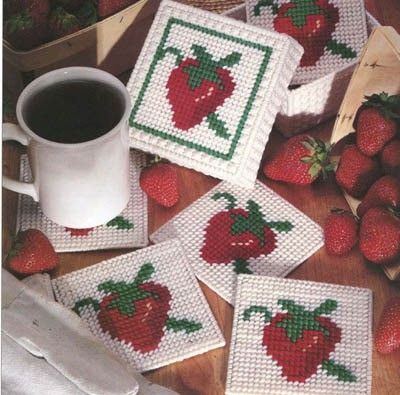Berry Nice Coasters ePattern - Berry' Nice Coasters features a strawberry on each coaster and the coaster holder. Design by Ann Scott.