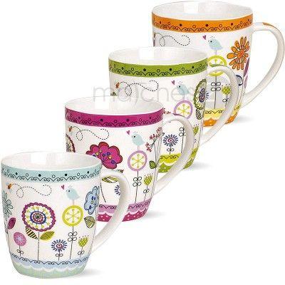 Tassen Becher Kaffeebecher bunte Blumen Porzellan 4er Set 10 cm / 350ml