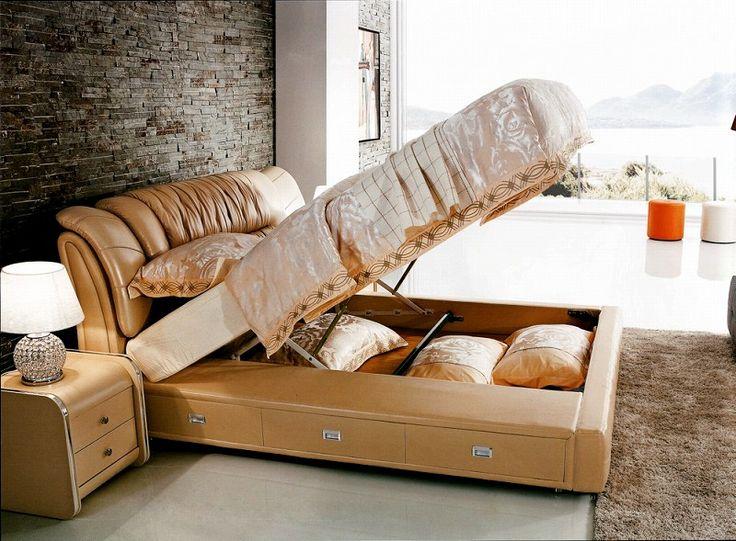 Подъем газа хранения современная натуральная кожа кровать современная мебель для спальни сделано в Китае