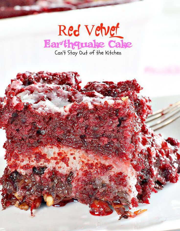 Red Velvet Earthquake Cake | Can't Stay Out of the Kitchen | one of the BEST #desserts I've made this year! Great for the #holidays. #redvelvet #cake #chocolate #cheesecake