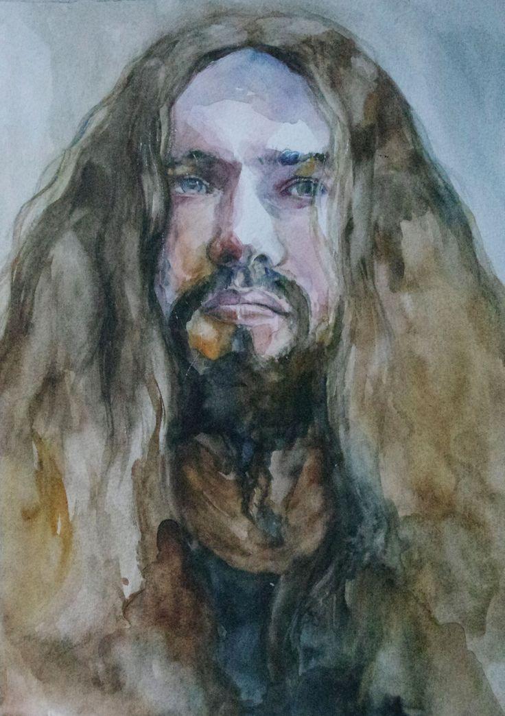 man portrait, the beardman, watercolor, akwarela portret