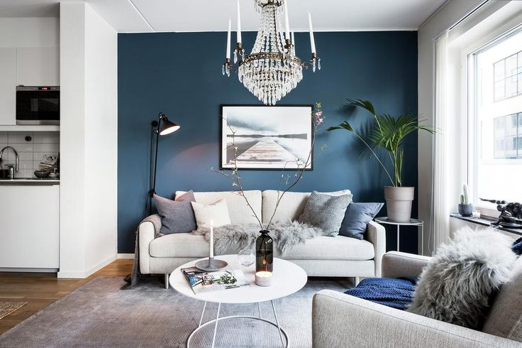 This blue + chandelier