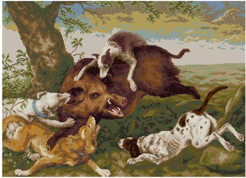 Охота на кабана - Другие животные - Животные - Схемы в XSD - Кладовочка схем - вышивка крестиком