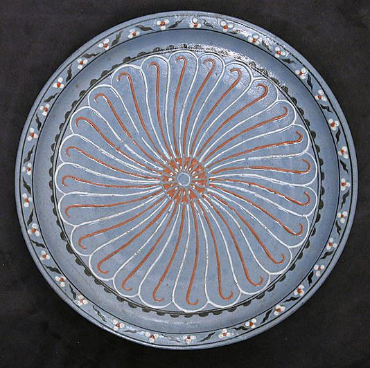 Blue-ground dish with Floral and 'Cintamani' Designs | Iznik, Turkey, ca. 1570-1575 | Stonepaste; colored slip and polychrome painted | The Metropolitan Museum of Art, New York