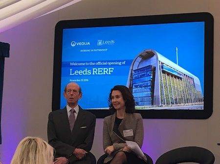 Veolia's Leeds Recycling and Energy Recovery Facility (RERF) has been formally opened by HRH the Duke of Kent at a ceremony this morning (15 November 2016).  The site has been developed on behalf of Leeds city council to handle an estimate 214,000 tonnes of household waste from the city each year – part of a £460 million, 25-year PFI deal between the council and Veolia signed in 2012.