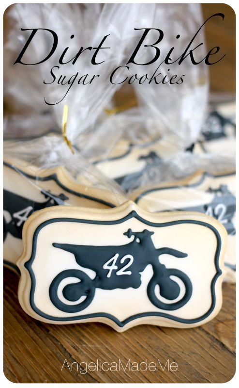 Dirt Bike Sugar Cookies. Easy decorated sugar cookie idea for any motorcycle or dirt bike loving throttle twister.